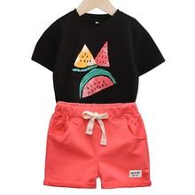 цена на BINIDUCKLING 2020 Summer Baby Boys Kids Clothes Sets Cotton Watermelon Print T-shirt+Shorts Suit Toddler Boys Clothes Set 18M-6T