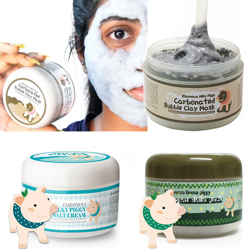 Milky Piggy Carbonated Bubble Clay Mask Green Piggy Collagen Jella Pack Aqua Brightening Mask Korea Facial Mask