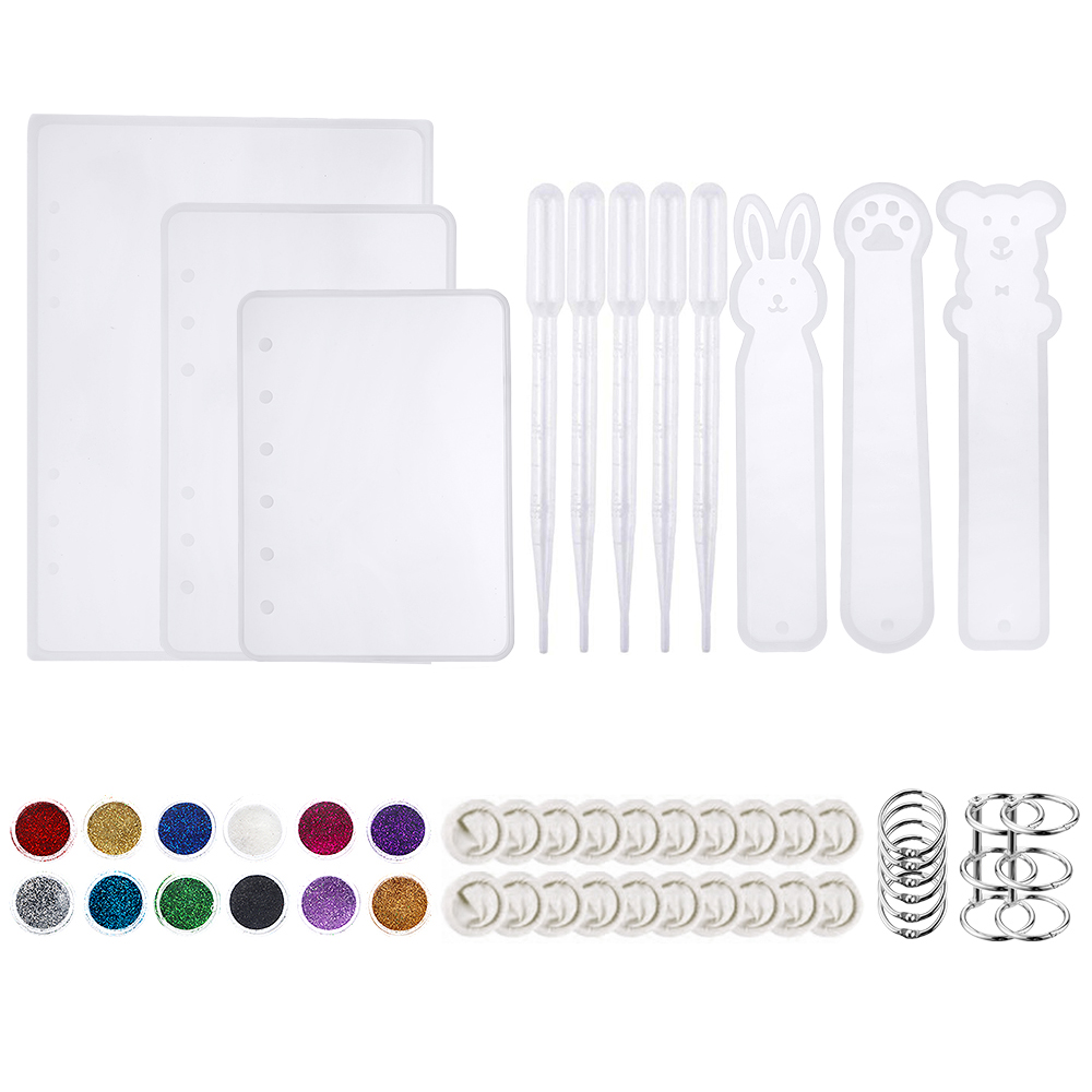 51Pcs Casting Silicone Molds For Notebook Cover A5 A6 A7 Silicone Bookmark Resin Mold With Book Rings For Resin Jewelry DIY