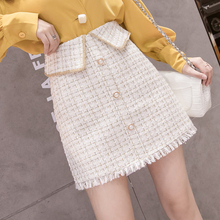2019 Autumn Winter Tweed Skirts Womens vintage harajuku High Waist Button Skirts Ladies Plus Size sexy Mini Skirt jupe femme autumn winter tweed skirts women button mini pencil skirts plaid wool skirts korean bodycon high waist elegant tweed skirt lady