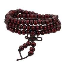 6mm Natural Sandalwood Buddhist Buddha Meditation Beads Bracelet For Women Men Mala Prayer Rosary Wood Bangle Decoration Jewelry