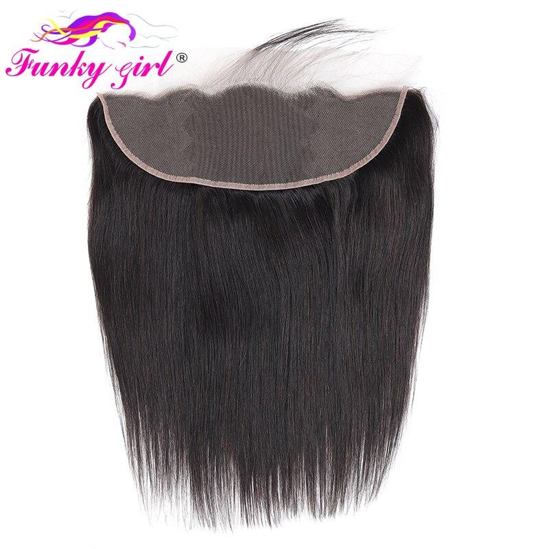 Fechamento frontal reto brasileiro do laço do cabelo humano 13x4 4x4 meio/livre/três parte laço suíço 100% remy linha fina natural