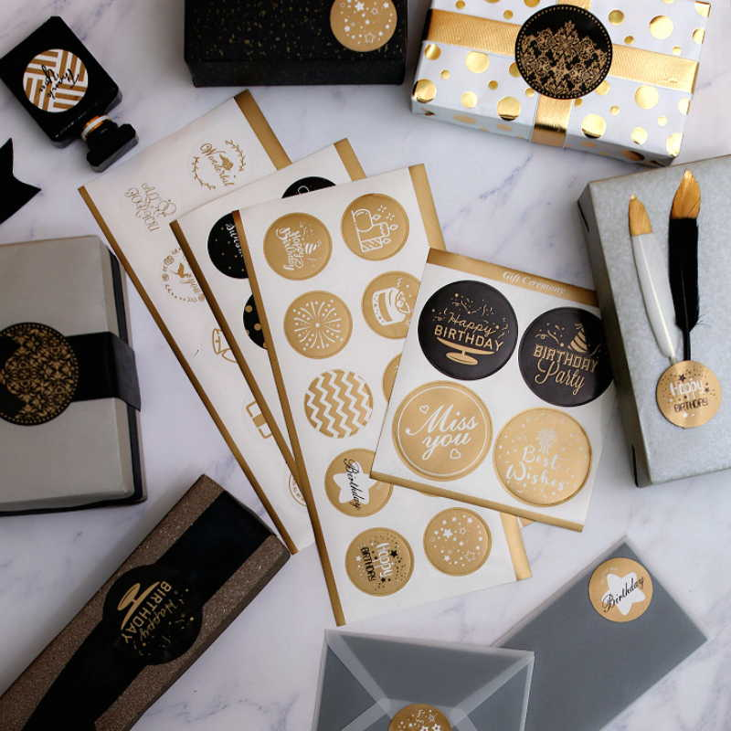 Upscale Gold Foil Happy Birthday Sticker 4-6cm Film Paper Sealing Birthday Party Decorative Sticker Birthday Stickers Label