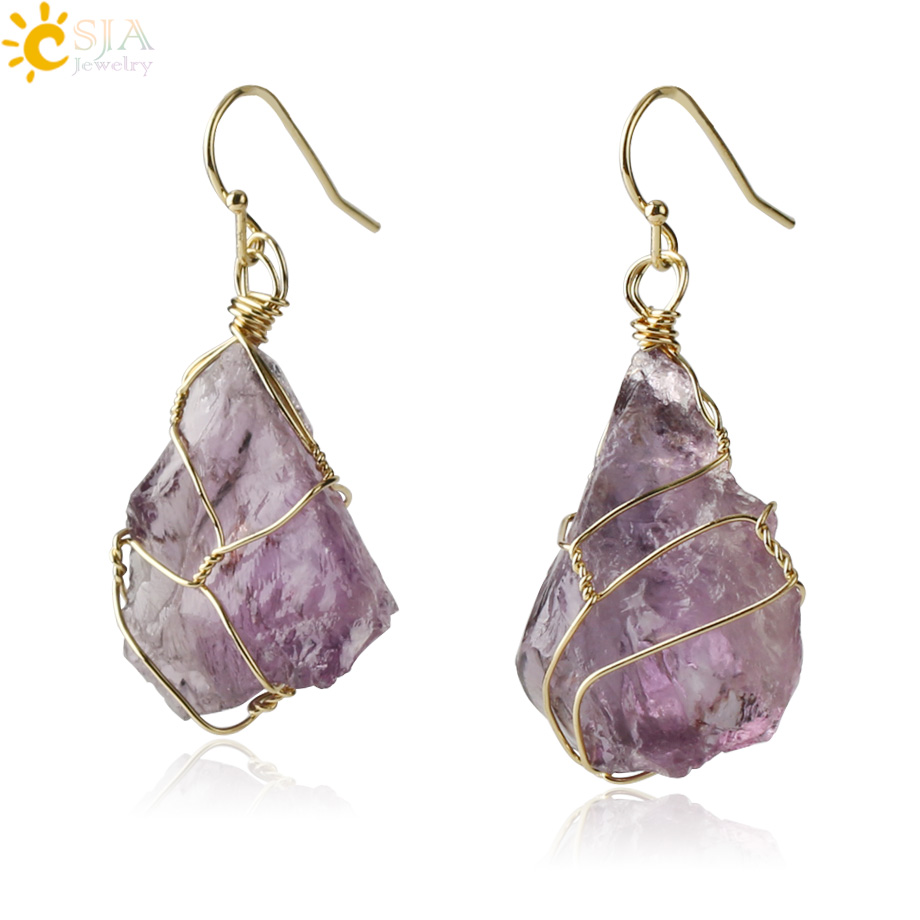 CSJA Natural Stone Drop Earrings Irregular Crystal Gold-color Wire Wrap Asymmetric Pendientes for Women Trendy Jewelry Gift G328