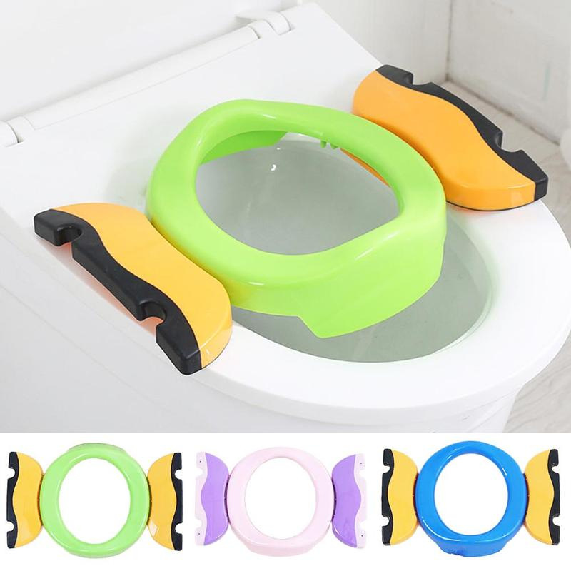 Kids Training Toilet Seat Portable Baby Outdoor Travel Pots Foldaway Toilet Basin Potty Car Travel Baby Folding Potty With Bags