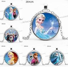 2019 / Ice Snow Pendant Necklace Snowman Cartoon Girl Round Glasses Woman Gift Children