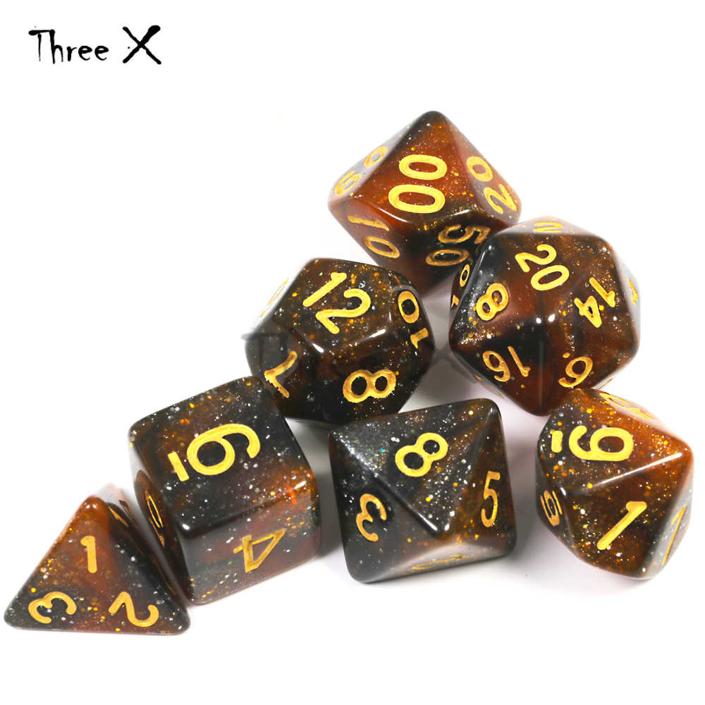 Ensemble de dés de galaxie d'univers créatif de mélange-couleur de catégorie supérieure de poudre de scintillement royale de D4-D20 effet étonnant pour le RPG de mdn