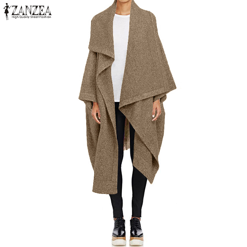 2020 ZANZEA Fashion Casual Long Trench Women's Coats Autumn Lapel Neck Cardigan Jackets Female Wool Cape Poncho Plus Size Tops