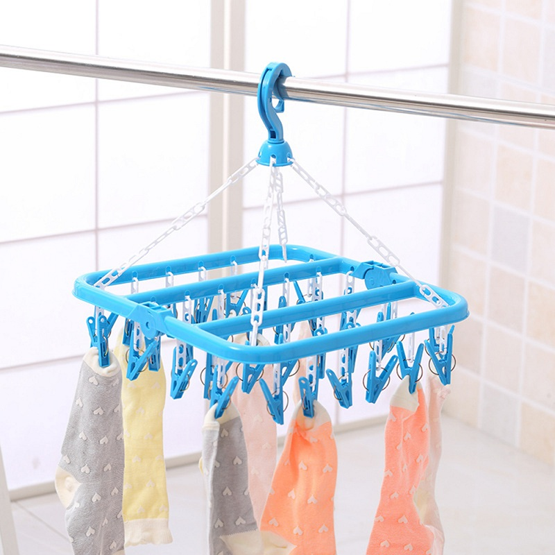 32 Clips Portable Socks Clothes Hanger Rack Clothespin Windproof Drying Rack Sock Holder Wardrobe Storage Cloth Hanger Organizer
