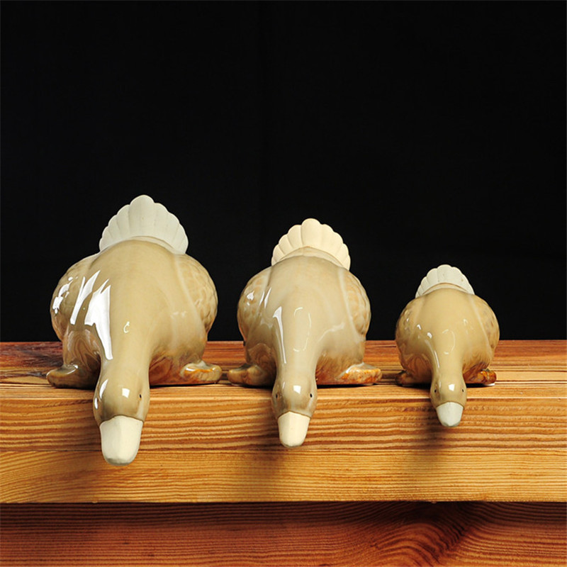Chinês cerâmica bebendo pato decoração 3 pçs