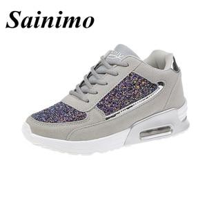 Image 5 - 2019 moda kadın rahat ayakkabılar yüksekliği artan spor ayakkabı kadınlar Glitter Sneakers platformu yürüyüş ayakkabısı zapatillas mujer