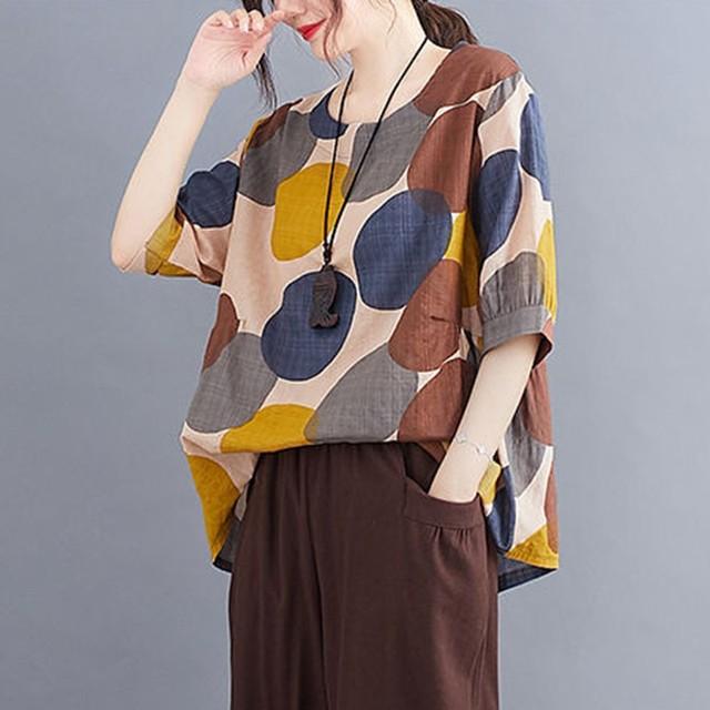 100% Cotton Oversized Shirt Women Summer Loose Casual Tops New 2020 Korean Style Polka Dot Print Woman Blouses Shirts P1027 3
