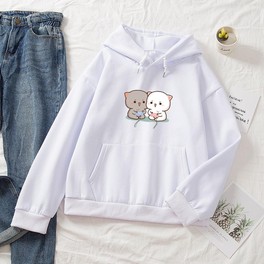 Cute Cat Printed Hoodies Women Autumn Loose Sweatshirt Female Itself Harajuku Kawaii Hooded Pullover Thicken Couple Coat 13