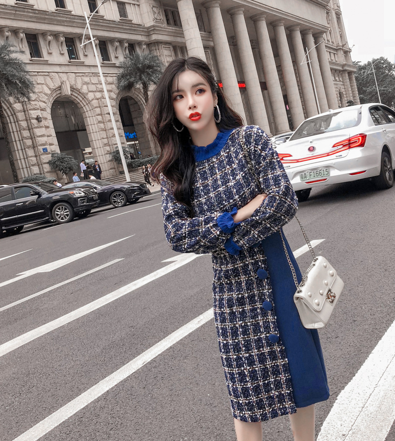 Autumn And Winter Thick Chunky Flower Woolen Joint Sweater + Skirt Two-Piece Set