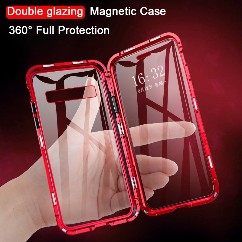 Магнитный металлический чехол для samsung Galaxy A7 A8 A9 2018 A10 A50 A60 A70 A20 A30 A40 M10 M20 M30 M40 A80 Двусторонняя стеклянная крышка