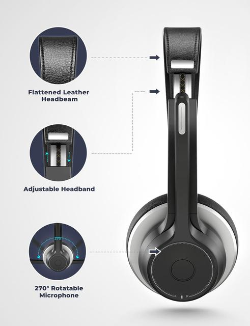 HC5 Wireless Bluetooth 5.0 Headphones With Mic CVC 8.0 Noise Cancelling Office Headset 22 Hours Life Earphones PC/Phone 5