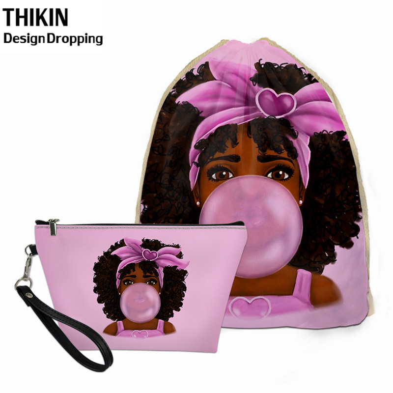 THIKIN Cute African Black Girls Women Travel Drawstring Bag For Girl PU Leather Makeup Bag Zipper 2pcs Custom Logo Toitory Pouch