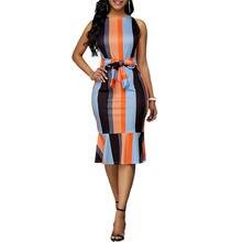 Женское платье футляр в полоску с оборками спереди без рукавов