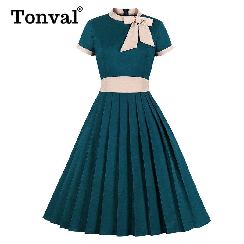 Tonval Turquoise Bow Tie Neck Pleated Elegant Party Midi Dress Women Cotton Vintage High Waist Pocket Swing Dresses Plus Size