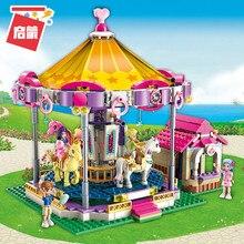 Qman kızlar şehir arkadaşlar serisi yapı taşları Set prenses fantezi Carousel araba eğlence parkı tuğla oyuncaklar çocuklar için hediye