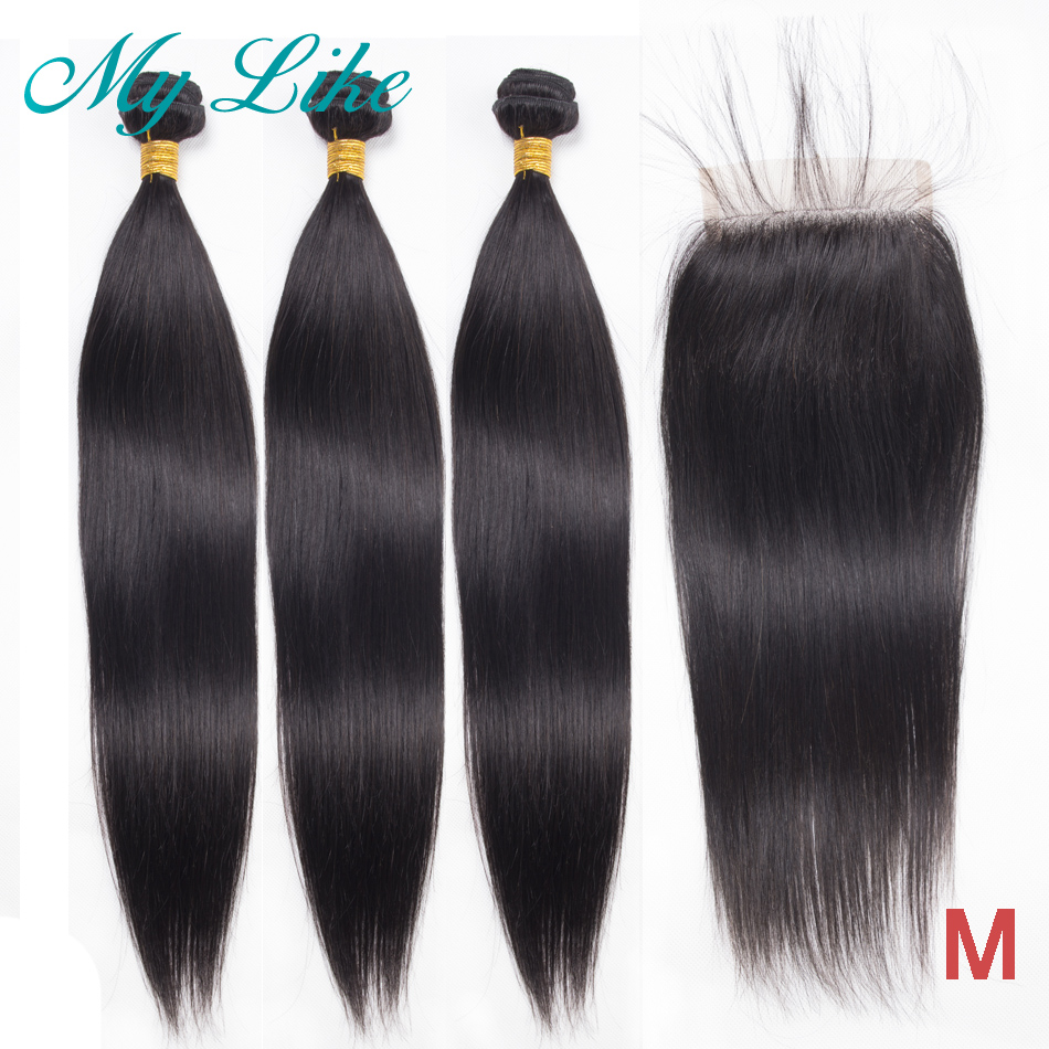 My Like Peruvian Hair Bundles With Closure Straight Hair Bundles With Closure Non-remy Human Hair Weave 3 Bundles With Closure
