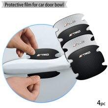 4 pçs maçaneta da porta do carro de fibra carbono adesivos automotivo bens adesivo para trd logotipo pro toyotas emblema acessórios automóveis