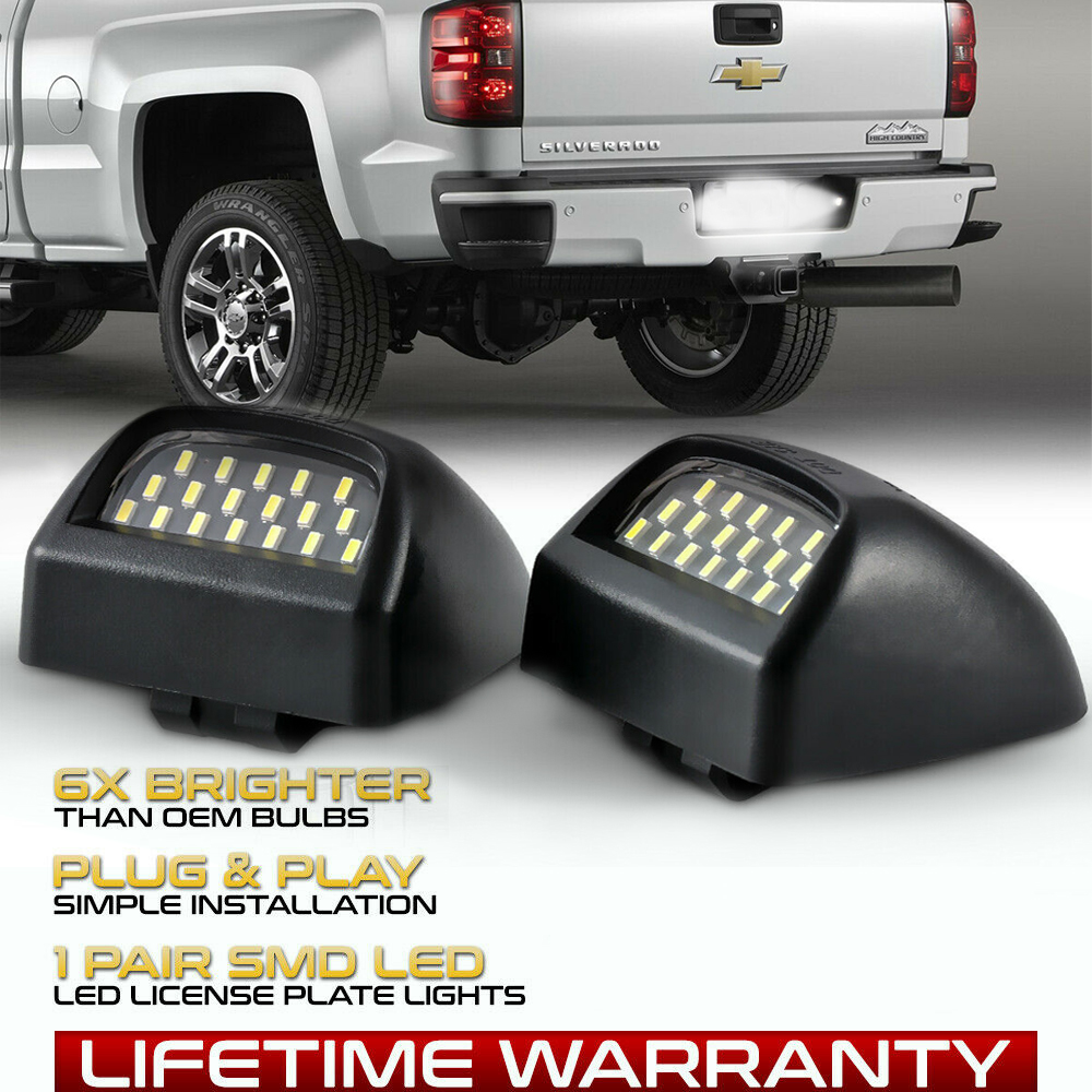 IRONWALLS 2pcs LED license Plate Light Lamp Assembly Lens Black Housing for 1999 after Chevy Silverado Sierra Avalanche Suburban Escalade Yukon GMC