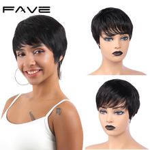цена на FAVE Short Human Hair Wigs Pixie Cut Wig Brazilian Remy Straight Wig Natural Black With Bangs Mature and Capable Hairstyle Wig
