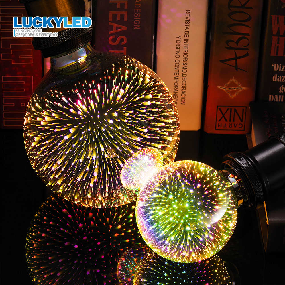 LUCKYLED 3D Decoration Holiday Lights Bulb Led Lamp E27 220v 110v A60 ST64 G80 G95 G125 Light Bulb Retro Firework Novelty Light