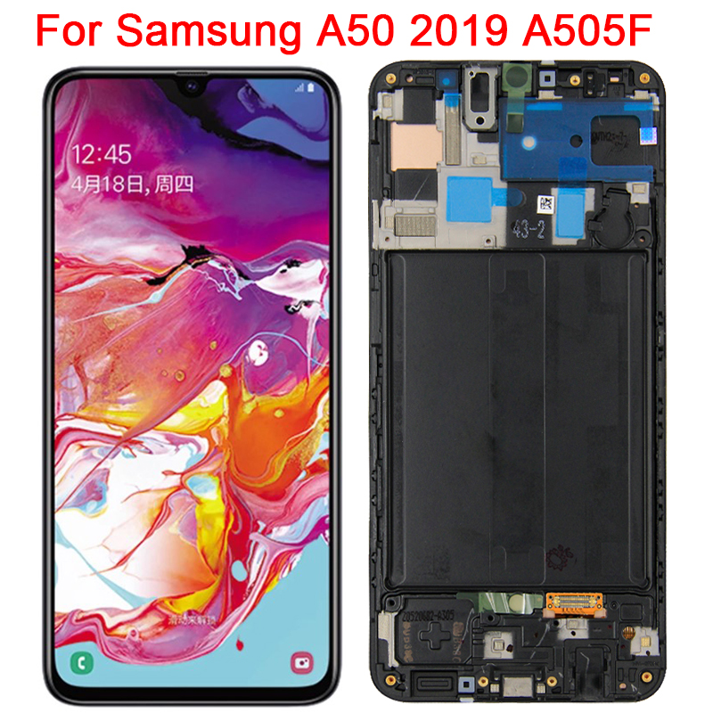 Original super amoled para samsung galaxy a50 2019 lcd com quadro 6.4