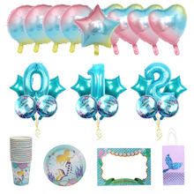 Blue Sea Mermaid Balloons Paper Cup Paper Plate Number Ballo