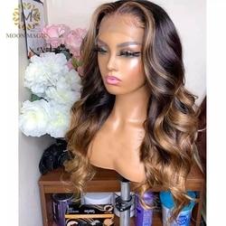 Медовый светлый кружевной передний парик 13x6, фронтальный парик из человеческих волос, Ombre 360 кружевной передний парик, полная волна, человеч...