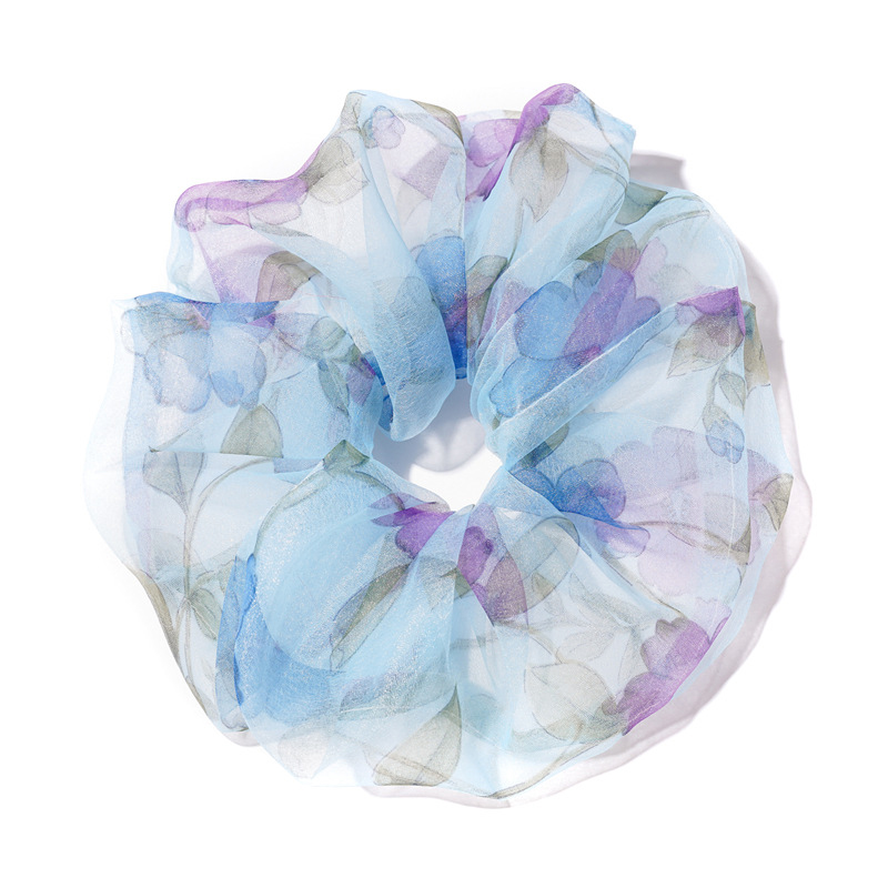Organza Sheer Scrunchies Floral Print Fashion Ponytail Holder Elastic Hair Ties For Girls Hair Accessories Pink Sweet Hair Bands