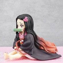 Figurine anime tueur de démons Kimetsu no Yaiba Kamado Nezuko position assise figurine d'action PVC modèle à collectionner jouets cadeaux 6.5CM