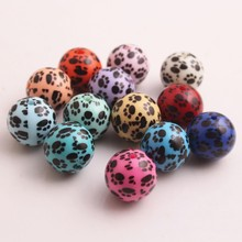 Paw-Beads Jewelry Necklace Acrylic Colorful 100pcs OYKZA 20mm for Girls Solid-Print Fashion