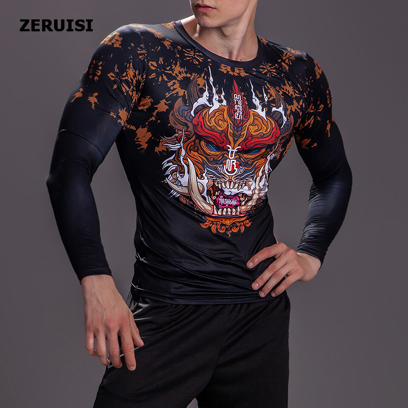 Image 3 - New Arrival 3D Printed T shirts Men Compression Shirt Costume Long Sleeve Tops For Male Fitness Hip hop Clothing-in T-Shirts from Men's Clothing