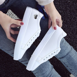2019 Autumn Woman Shoes Fashion New Woman PU Leather Shoes Ladies Breathable Cute Heart Flats Casual Shoes White Sneakers 5