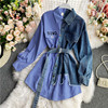 Women's Blouse 2020 Autumn Long Sleeve Shirt Tops Jeans Patchwork Plaid Blouses Elegantes Blusas para mujer Slim Shirt Dress 4