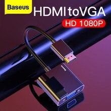 Baseus HDMI a VGA Cavo HDMI VGA Adattatore Digitale HDMI a VGA Martinetti 3.5 millimetri Convertitore Video Aux Audio Splitter per il Computer Portatile PS4 TV