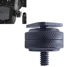 1/4 Inch Dual Nuts Tripod Mount Screw to Flash Camera Hot Shoe Adapter