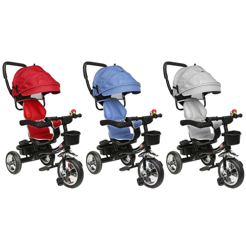 1-3years 1pc 4-in-1 Baby Tricycle Soft 3 Colors Carriage With Bell And Rearview Mirror Outdoor Travel Car For Newborn Baby Kids