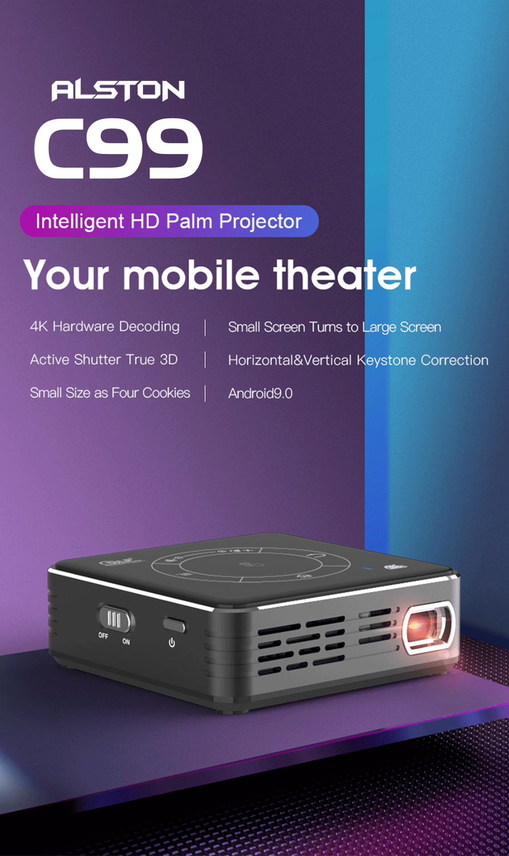 Alston c99 mini dlp android projetor wifi bluetooth 5.0 portátil led projetor de vídeo cinema em casa apoio miracast airplay-1
