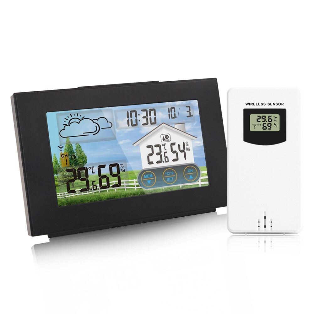 FanJu Weather Station Touch Screen Wireless Indoor Outdoor Temperature Humidity Meter Digital Alarm clock 1-3 Sensor -40℃ Tools
