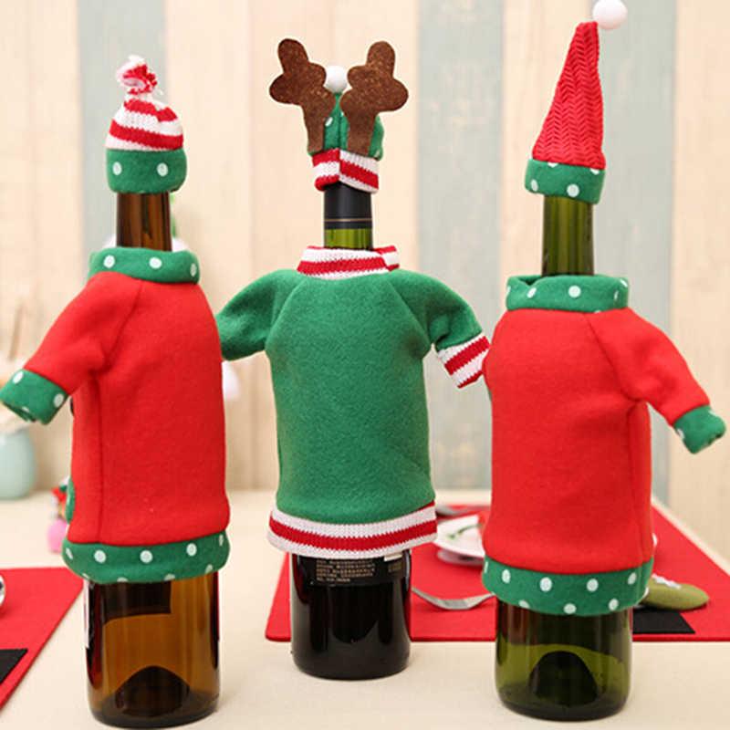 Hot Koop 1 Set Rode Wijn Fles Cover Tassen Leuke Rode Wijn Cover Kerst Diner Tafel Decoratie Wijn Fles Pak