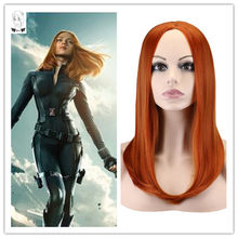 WHIMSICAL W Medium Long Straight Wigs For African American Women Orange Brown Middle Part Heat Resistant Synthetic Wig Peruca(China)