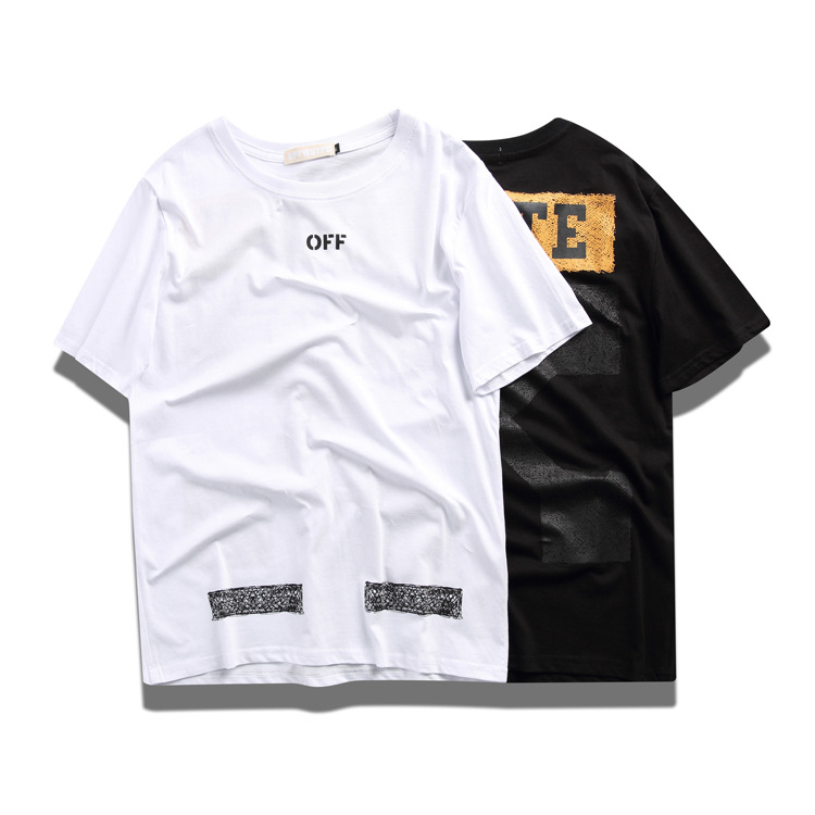 2019off Ow White Short Sleeve Slash Arrowhead Printed Crew Neck Pullover Men And Women Loose-Fit Couples Students Fashion