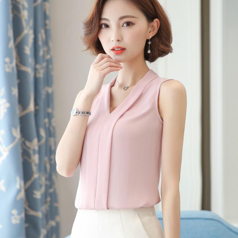 Womens Tops And Blouses Chiffon Women Blouses Solid Summer Sleeveless White Women Shirts Korean Fashion Clothing Plus Size XXL