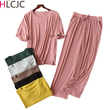 2020 Modal Pajamas for Women 2 Pieces Summer Sets Short Sleeve Sleepwear O Neck Pijama Feminino Loose Pyjama Femme Home Clothes