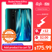 Xiaomi Redmi Note 8 Pro 6GB 64GB WCDMA/GSM/LTE NFC Quick charge 3.0/usb-Pd Liquidcool/Gorilla glass/Game turbogpu turbo/Bluetooth 5.0