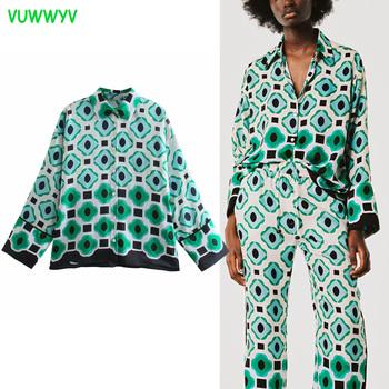VUWWYV Za koszule damskie zielony geometryczny Print koszula z guzikami kobieta lato z długim rękawem Plus rozmiar koszula damska z kołnierzykiem Top na co dzień tanie i dobre opinie CN (pochodzenie) POLIESTER REGULAR NONE Wiosna 2021 STANDARD Sukno Proste Women Shirt L820-40 z włókien syntetycznych